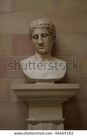 Bust of greek man is made of gesso. - stock photo