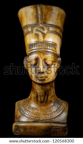 bust of Queen Nefertiti on the black background - stock photo