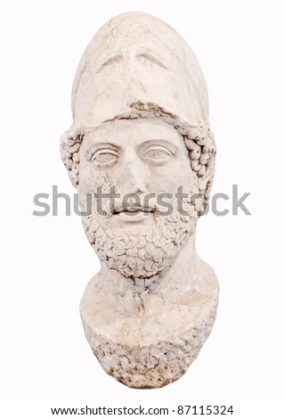 Bust of the greek statesman Pericles isolated on white New museum of Acropolis in Athens Greece - stock photo