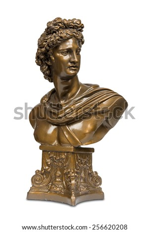 Bust sculpture of Apollo Belvedere isolated over white with clipping path. - stock photo