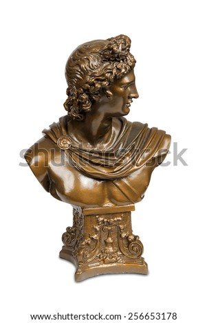 Bust sculpture of Belvedere Apollo isolated over white with clipping path. - stock photo