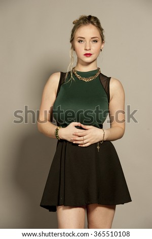 Busty Gorgeous Young Brunette - stock photo