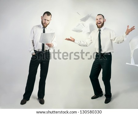 busy and happy businessman - stock photo