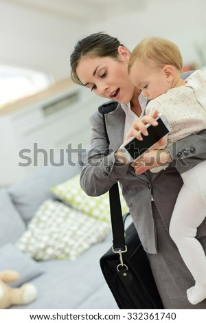 Busy businesswoman running late for work in the morning  - stock photo