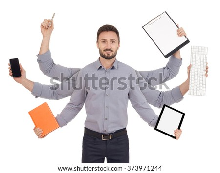 Busy cheerful man - stock photo
