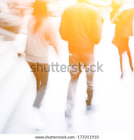 busy city pedestrian people crowd on street road abstract - stock photo