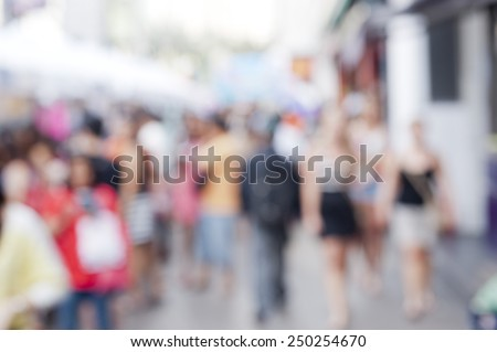 busy city pedestrian people crowd on street road abstract with blurred background. - stock photo