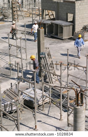 Busy construction site - stock photo