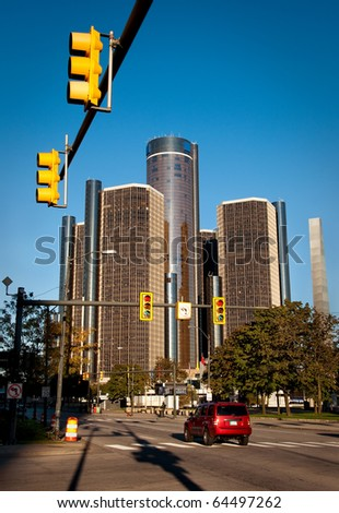 Busy Downtown Detroit - stock photo