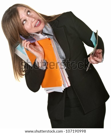 Busy executive with phone, folders and tablet over white background - stock photo