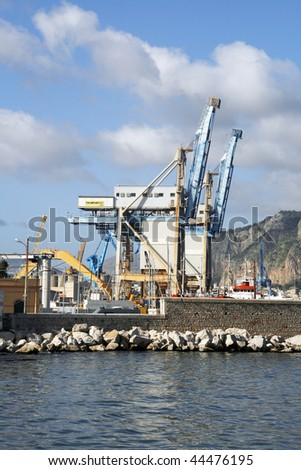 Busy harbor in Palermo - the capital city of Sicily
