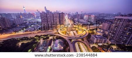 Busy highway interchange, China Guangzhou Huangpu Interchange - stock photo