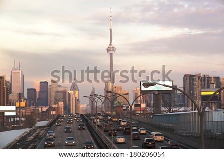 Busy highway to Toronto Downtown. Toronto, Ontario, Canada - stock photo