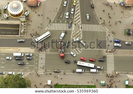 busy intersection in Paris city, view from Eiffel Tower
