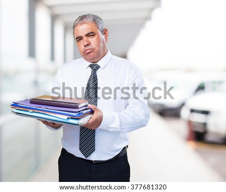 busy mature business man - stock photo