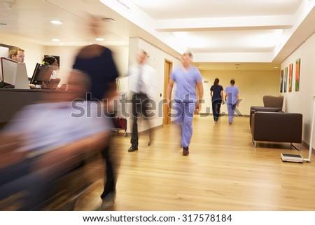 Busy Nurse's Station In Modern Hospital - stock photo