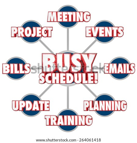 Busy Schedule at the center of a grid showing tasks, jobs or projects including answering emails, paying bills, projects, updates, meetings and more - stock photo