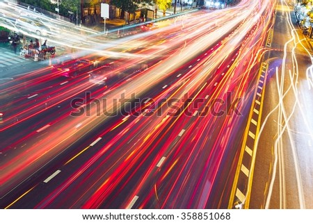 Busy street at the night - Bangkok, Thailand - stock photo
