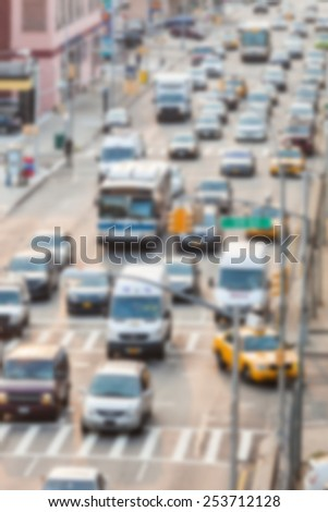 Busy Thoroughfare during rush hour. Blurred Background. - stock photo