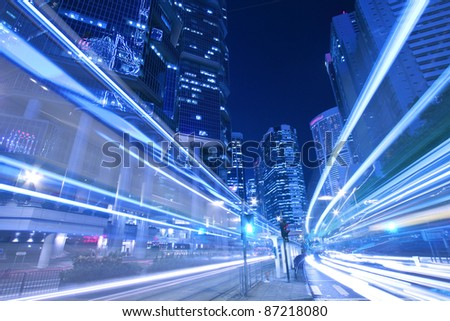 Busy traffic in city at night - Pearl of the East: Hong Kong. - stock photo