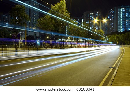 Busy traffic in highway of Hong Kong - stock photo
