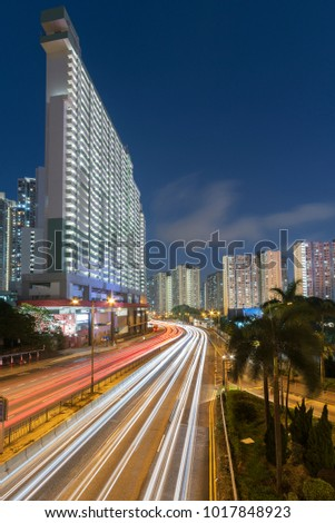 Busy traffic in Hong Kong city at night