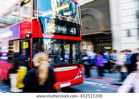 busy traffic scene with abstract motion blur in London, UK - stock photo