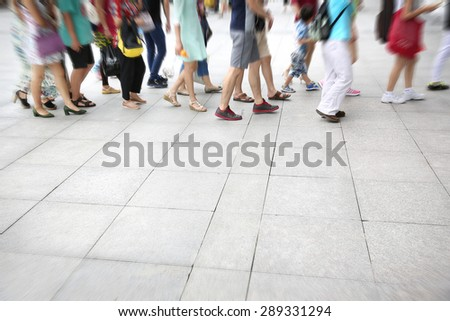 Busy urban street people  - stock photo
