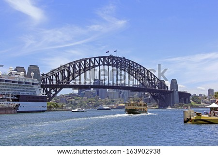 Busy with cruise ships at the Circular Quay Harbour Sydney Australia - stock photo