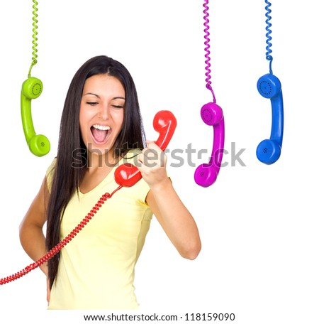 Busy Woman Shouting a Red Phone Isolated on White - stock photo