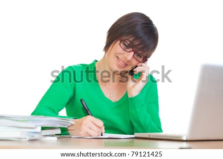 Busy Young Woman at Work in Office