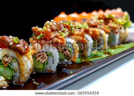 Buta roll - Japanese grilled pork roll - stock photo