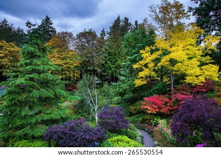 Butchart Gardens - a set of amazingly beautiful gardens on Vancouver Island, Canada. Sunken Garden - the central and most beautiful part of park complex - stock photo