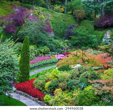 Butchart Gardens - a set of amazingly beautiful gardens on Vancouver Island, Canada. Sunken Garden - the central and most beautiful part of the park complex - stock photo