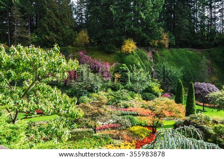 Butchart Gardens - set of beautiful gardens on Vancouver Island, Canada. Sunken Garden - the central and most beautiful part of park complex