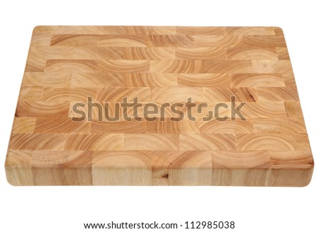 Butcher's block wooden chopping board, new and without knife marks. - stock photo
