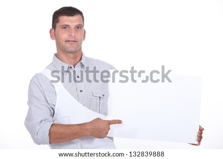 Butcher showing panel - stock photo