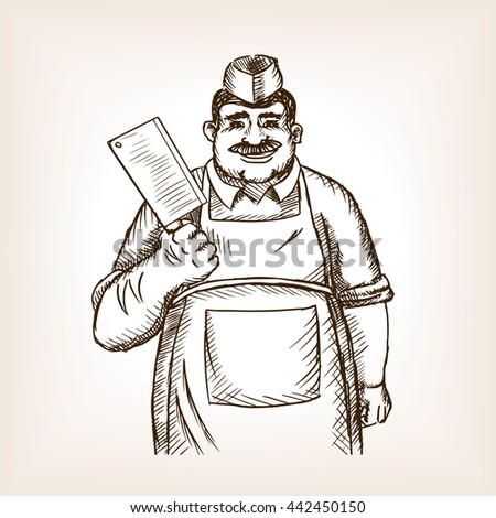 Butcher with knife sketch style raster illustration. Old hand drawn engraving imitation.