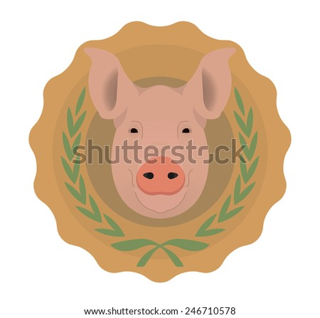 Butchery organic food raster eco logo. Big pink pig head in orange stamp with laurel wreath. Color illustration isolated on  white. No outline - stock photo