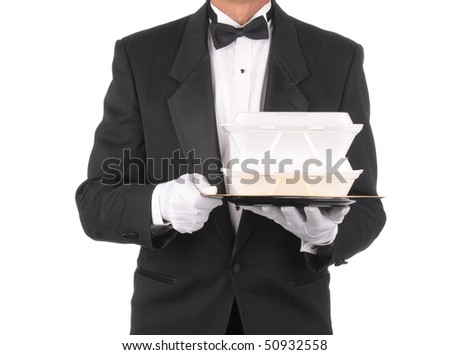 Butler in tuxedo torso only holding a take-out food containers on a tray  isolated over white
