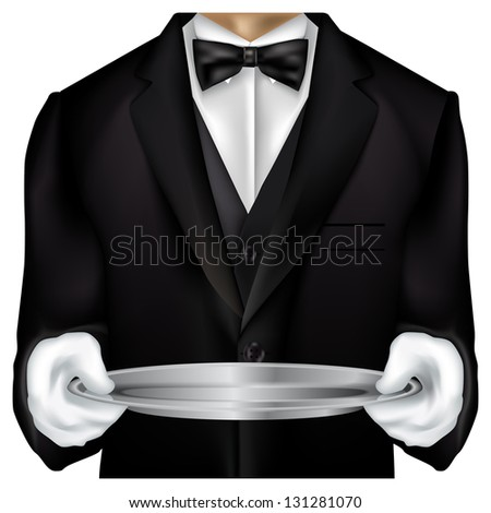 Butler torso dressed in tux isolated on white - stock photo