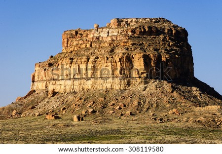 Butte, Chaco Culture National Historical Park - stock photo