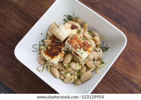 Butter beans salad with Italian Halloumi Cheese. Vegan and gluten free.