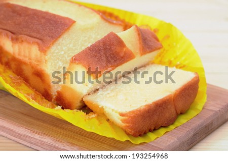 butter cake and slice display at market place