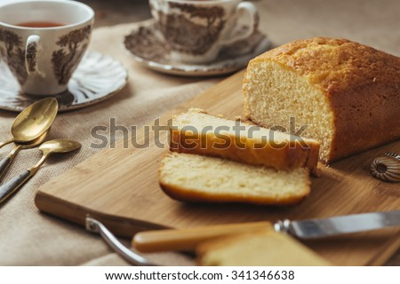 butter cake with props surrounded, selective focus