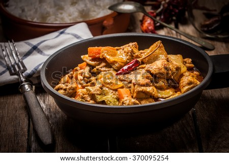 butter chicken curry indian style with basmati rice - stock photo