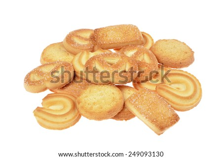 butter cookies,homemade biscuits, isolated on a white background - stock photo