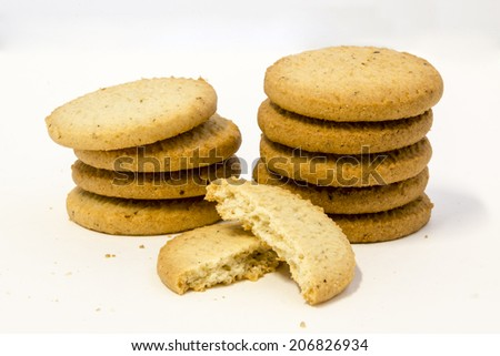 Butter cookies on clear background - stock photo