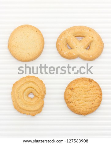 Butter cookies set isolated on white. - stock photo