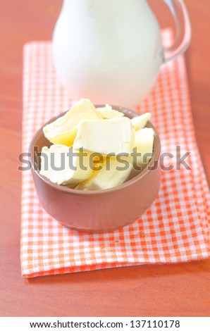 butter milk and bread - stock photo